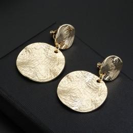 ZA metalowe teksturowane okrągły dysk klip na kolczyki bez Piercing oświadczenie geometryczne duże okrągłe kolczyki nie przebili