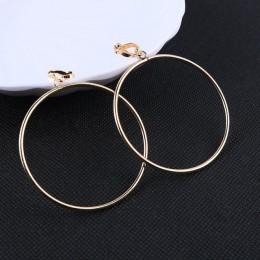 Modne klasyczne metalowe wiszące klipsy damskie w kształcie kółek eleganckie okrągłe kolczyki w kolorze srebrna złota