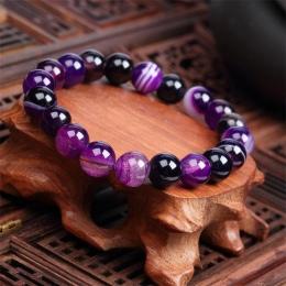 Meajoe Trendy Naturalny Kamień Miłość Fioletowy Koralik Bransoletka Vintage Charm Okrągły Łańcuch Koraliki Bransoletki Biżuteria