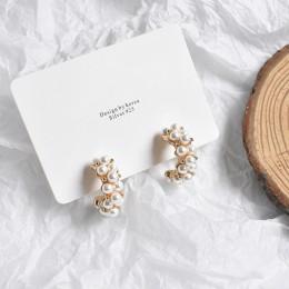 MENGJIQIAO 2019 New Vintage japonia koreański Hoop kolczyki dla kobiet Handmade słodki symulowane Pearl Circle shape biżuteria P