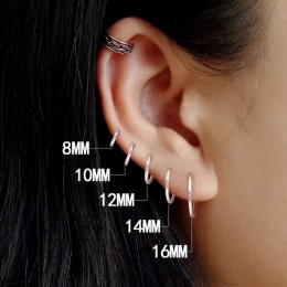 CANNER 1 para kolczyki małe kółka 925 srebro koło okrągły kolczyki koła dla kobiet mężczyzn kolczyk ucho kości klamra