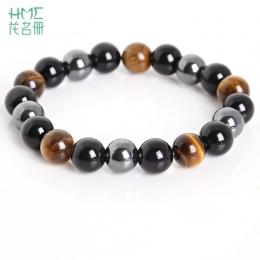 Tiger Eye & Hematyt & Black Obsidian 10mm Kamień Bransoletka Biżuteria dla kobiet Prezent Bransoletka Mężczyzn