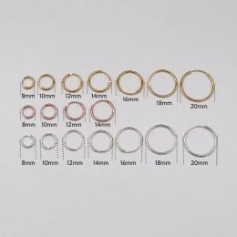Złoty/złoty kolor/złota róża kolor/kolor złoty kolor/czarny/925 Sterling Silver proste ucha kości Hoop kolczyki Mini małe okrągł
