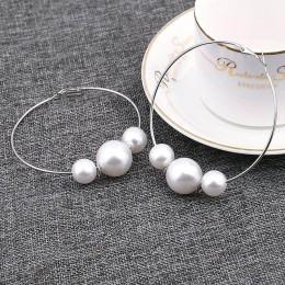 Moda symulowane Pearl komunikat duże kolczyki małe kółka dla kobiety przesadzić koło kolczyki osobowość klub nocny biżuteria