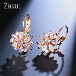 ZAKOL moda wzrosła złoty kolor Hoop kolczyki Flower klastrów jasny kryształ cyrkonu kolczyki dla kobiet Brincos biżuteria FSEP60