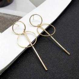 Eleganckie geometryczne okrągłe koło Hoop kolczyki podwójne Hollow koło moda kolczyki dla kobiet oświadczenie biżuteria ekskluzy