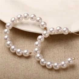 17KM Oversize perła Hoop kolczyki dla kobiet dziewczyny wyjątkową skręcone duże kolczyki koło kolczyki Brinco komunikat biżuteri