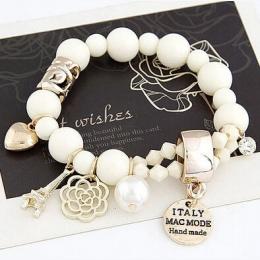 New Arrival Moda Wrap Cuff Charms Kryształ symulowane Pearl Koraliki Serca Elastyczna Siła Bransoletka Dla Kobiet Biżuteria Sprz