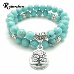 Drzewo życia Ruberthen Joga Mala Bransoletka Kamień Healing Ochrony Elastyczna Zroszony Układania biżuterii Bransoletka biżuteri
