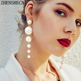 Modny elegancki stworzony Big symulowane długie kolczyki perłowe perły String oświadczenie spadek kolczyki na ślub Party prezent