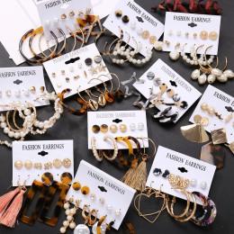 17KM Tassel akrylowe kolczyki dla kobiet czeski kolczyki zestaw duże geometryczne spadek kolczyk 2019 Brincos kobieta DIY biżute