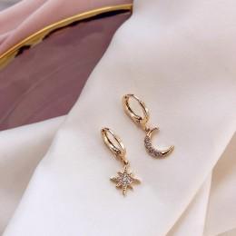 2019 New Arrival moda klasyczne geometryczne kobiety dynda kolczyki asymetryczne kolczyki z gwiazda i księżyc kobiet koreański b