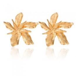 Docona elegancja srebrny złoty duży kwiat spadek dynda kolczyk dla kobiet modne metalowe kwiatowy Party biżuteria prezent Pendie