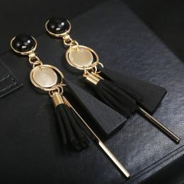 Osobowość moda trójkąt geometryczne drewniane kolczyki Retro kobiet tassel długie damskie kolczyki biżuteria