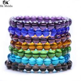 Kolorowe Szkło Przezroczyste Koraliki Koraliki Bransoletka Bransoletka Dla Kobiet i Mężczyzna Moda Proste Klasyczne Unisex E-78