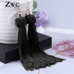 ZWC w stylu Vintage etniczne opadające kolczyki z długimi frędzlami dla kobiet Lady moda czeski komunikat Fringe Dangle kolczyki