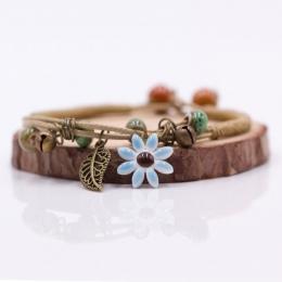 Kobiet Kwiat liść Ceramiczne hand made DIY Bransoletki Artware Retro bransoletka dla kobiety dziewczyna prezent Biżuteria hurtow
