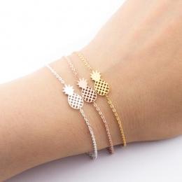 Dainty minimalizm Ananas Bransoletka Dla Kobiet Prezenty Biżuteria 2017 Przyjaźni Bransoletka Różowe Złoto Ze stali nierdzewnej