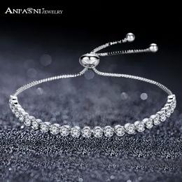 ANFASNI Tenis Regulowany Charm Bransoletki i Bransolety Z Cyrkoniami Srebrny Kolor Dla Kobiety Biżuteria Prezent Pulseras Dropsh