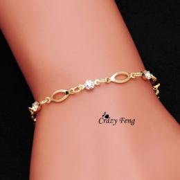 Hurtownie Złota-kolor Kryształowe bransoletki przyjaźni bransoletki dla kobiet prezent