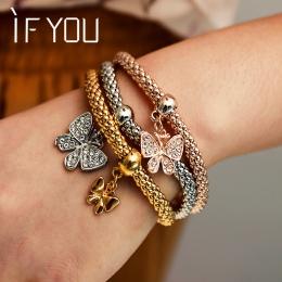 JEŚLI 3 sztuk Bransoletka Kryształ Kobiety Złoty Kolor Wypełniony Bransoletki Bransoletki Biżuteria Charm Elastyczny Łańcuch Pre
