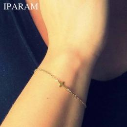 Moda Złoty Łańcuszek IPARAM Prosty Krzyż Bransoletka Tanie Bransoletka Wykwintne biżuteria dla kobiet
