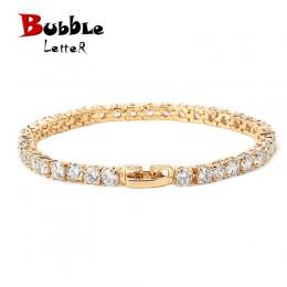 Iced cyrkon tenis bransoletki i łańcuszki na rękę męska Hip hop biżuteria miedzi materiał róża w kolorze różowego złota kolor Bo