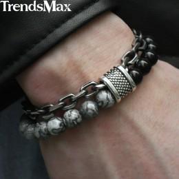 Trendsmax Natural Map Stone męska bransoletka z paciorkami dla kobiet bransoletki ze stali nierdzewnej biżuteria męska Tiger eye
