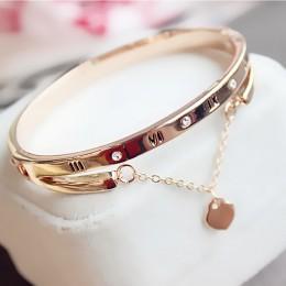 Hot luksusowe różowe złoto bransoletki ze stali nierdzewnej bransoletki kobiet serce na zawsze miłość marka Charm bransoletka dl