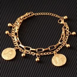 Nowy przyjeżdża podwójne ze stali nierdzewnej religijne bransoletka dla kobiet kobieta koraliki w kolorze złotym bransoletka jez