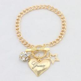 Big Love Heart Charms bransoletki dla kobiet złoty kolor srebrny Bileklik bransoletka i bransoletka biżuteria europa biżuteria w