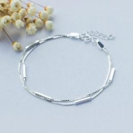 Osobowość New Art 925 Sterling Silver Biżuteria Kobiece Proste Bar Okrągły Kij Dwukrotnie Wysokiej Jakości Popularne Bransoletka