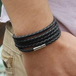 XQNI marka czarny retro Wrap długi pasek ze skóry bransoletki męskie typu bangle moda sproty łańcuch link mężczyzna charm branso