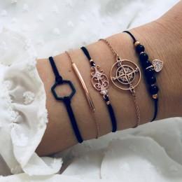 DIEZI czeski czarne koraliki łańcucha bransoletki bransoletki dla kobiet moda serce kompas kolor złoty łańcuch bransoletki zesta