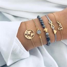 5 sztuk/zestaw Punk Turtle mapa serce list miłość kryształowe koraliki łańcuch wielowarstwowe wisiorek złota bransoletka zestaw