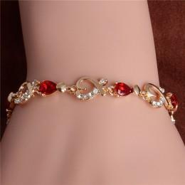MISANANRYNE nowy 5 kolory piękne bransoletka dla kobiet kolorowe austriacki kryształ moda bransoletka serduszkiem na łańcuszku h