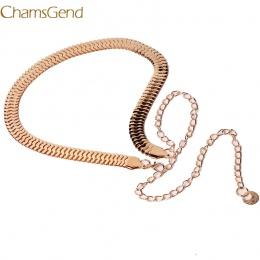Chamsgend Pas Nowo Projekt Kobiety Dama Mody Ryby Skóry Wzór Metal Złoty Łańcuch Pas Biodrowy Pasek 160616 Drop Shipping