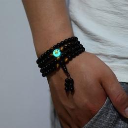 BOEYCJR Smok Czarny Buddy Koraliki Bangles & Bransoletki Biżuteria Handmade Etniczne Świecące w ciemności Bransoletki dla Kobiet
