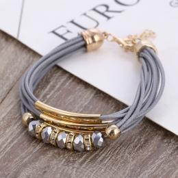 Bransoletka Hurtownie 2018 Nowych Moda Biżuteria Skórzana Bransoletka Bransoletka dla Kobiet Europa Koraliki Charms Złota Branso