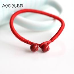 2 sztuk/partia Kobiety Szczęście Bransoletki Koralik Czerwony Ciąg Ceramiczne bransoletki i bangles Mężczyzn Handmade Akcesoria