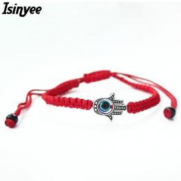 ISINYEE Szczęście Kabała Red String Wątek Fatima Hamsa Bransoletki Niebieski Turecki Evil Eye Charm Kobiety Handmade Przyjaźń Bi