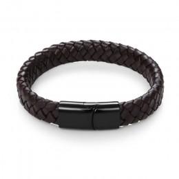 Jiayiqi punkowa biżuteria dla mężczyzn czarny/brązowy plecione skórzane bransoletki zapięcie magnetyczne ze stali nierdzewnej mo