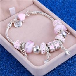 ZOSHI różowy kryształ urok srebrne bransoletki i Bangles dla kobiet z Aliexpress Murano koraliki srebrny bransoletka Femme biżut