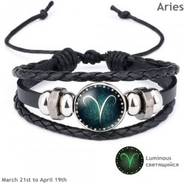 Nowy 12 konstelacji Luminous bransoletka mężczyźni skórzana bransoletka Charm bransoletki dla mężczyzn chłopcy kobiety dziewczyn