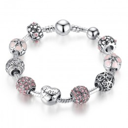 BAMOER srebrna zawieszka antyk bransoletka i bransoletka z miłością i kwiat koraliki kobiety biżuteria ślubna 4 kolory 18CM 20CM