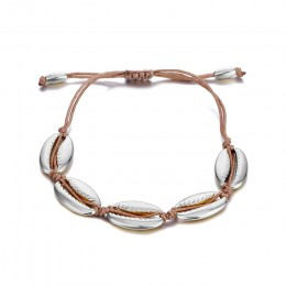 Złoty kolor Cowrie Shell bransoletki dla kobiet delikatne liny łańcuch koraliki na bransoletkę Charm bransoletka czeski plaża bi