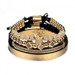 Gorąca sprzedaż klasyczny ręcznie oplatania bransoletki Gold Hip Hop mężczyźni Pave CZ cyrkon korona cyframi rzymskimi bransolet