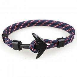 Moda czarna kotwica bransoletki mężczyźni urok 550 przeżycia Rope Chain Paracord bransoletka mężczyzna Wrap Metal Sport haki