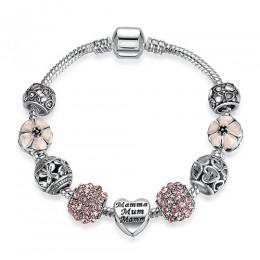 Oryginalny tybet srebrny kryształ cztery liść koniczyny bransoletka ze szklanymi koralikami ze szkła Murano Charm bransoletka Ba