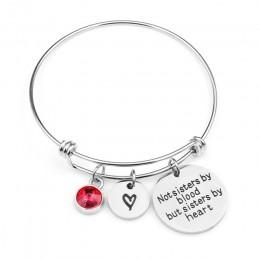 """""""Nie siostry przez krew, ale siostry serce"""" Birthstone bransoletki amulet ze stali nierdzewnej bransoletka dla kobiet przyjaźń p"""